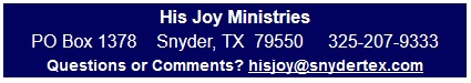His Joy Ministries address